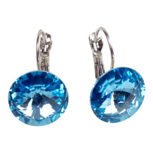 gh73 Aqua Swarovski Earrings hoops 1