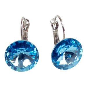 gh73 Aqua Swarovski Earrings hoops 1
