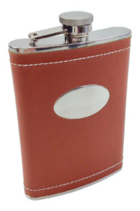 GH258 brown leather wrapped flask