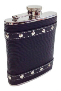 GH260. Studded Black Leather flask