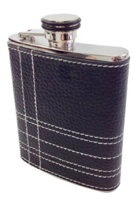 GH261. Black Leather Wrapped flask