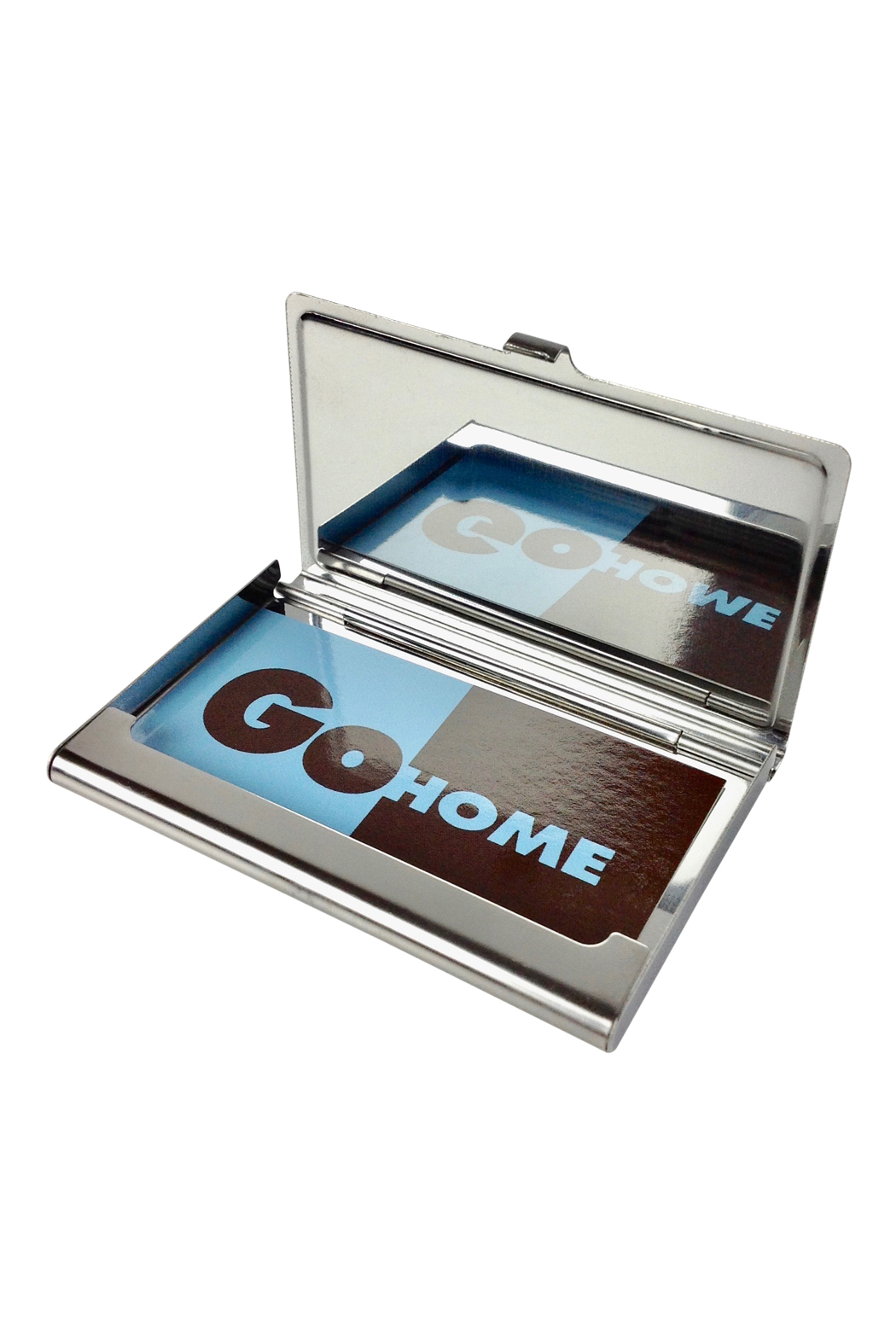 Chrome card case with multi dot lid go home modern for Modern home decor gifts