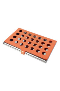 GH278. ORANGE CARD CASE with holes