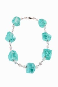 GH294. Aqua Chiseled necklace 1
