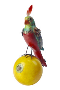 GH327 Parrot Sculpture on a Yellow Ball 1