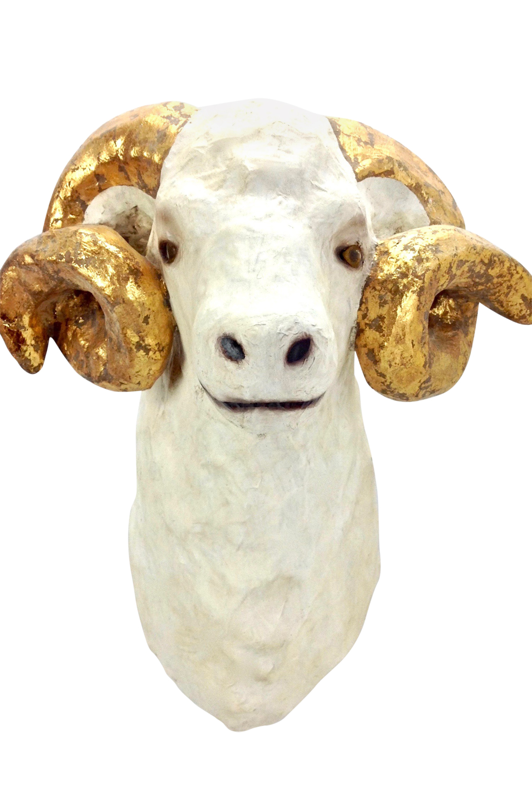 Ram trophy with gold leafed horns go home modern for Modern home decor gifts